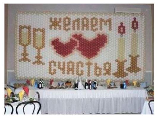"""Панно из воздушных шаров""""Желаем счастья"""" купить в интернет магазине подарков ПраздникШоп"""