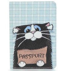 Кожаная обложка на паспорт Котэ купить в интернет магазине подарков ПраздникШоп