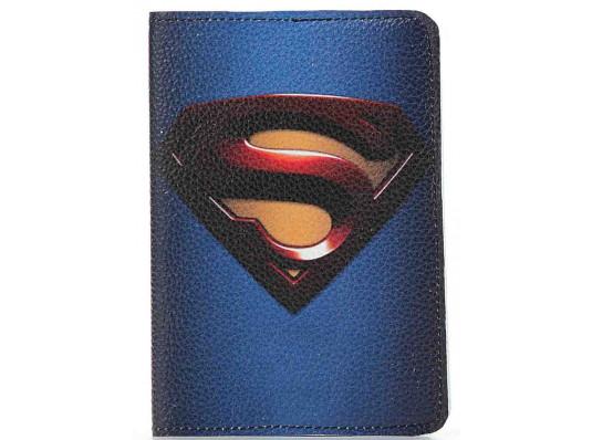 Кожаная обложка на паспорт Супермена купить в интернет магазине подарков ПраздникШоп