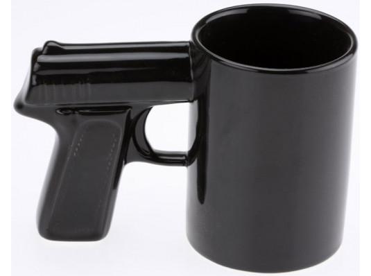 """Чашка """"Пистолет"""", черная купить в интернет магазине подарков ПраздникШоп"""